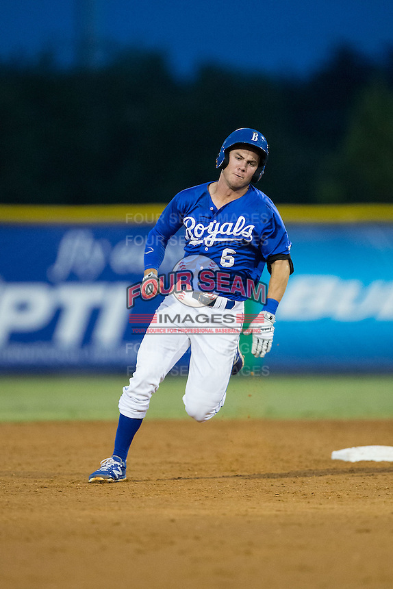 Ben Johnson (6) of the Burlington Royals hustles towards third base after hitting a triple against the Greeneville Astros at Burlington Athletic Park on August 29, 2015 in Burlington, North Carolina.  The Royals defeated the Astros 3-1. (Brian Westerholt/Four Seam Images)