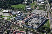 Luchtfoto van de Kenniscampus Leeuwarden met de NHL Hogeschool en Stenden University.