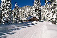 Snow Covered Log Cabin Warming Hut along Groomed Cross Country Skiing Trail at Strawberry Flats, Manning Provincial Park, BC, British Columbia, Canada - Southwestern BC Region, Winter