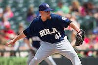 New Orleans Zephyrs pitcher Jordan Smith #41 delivers a pitch to the plate against the Round Rock Express in the Pacific Coast League baseball game on April 21, 2013 at the Dell Diamond in Round Rock, Texas. Round Rock defeated New Orleans 7-1. (Andrew Woolley/Four Seam Images).