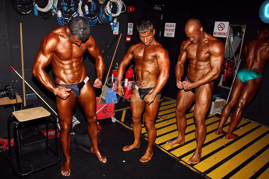 Mens novice competitors are pictured backstage at the RIBBF (Republic of Ireland Body Building Federation) National Championships held in Limerick at the Millennium Theatre, LIT, Ireland.