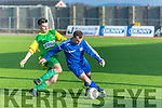 Desmond's Thomas Quilligan and Kerry's Adam O'Rourke  in the Umbro Oscar Traynor Cup Kerry v Desmond League at Mounthawk Park on Sunday