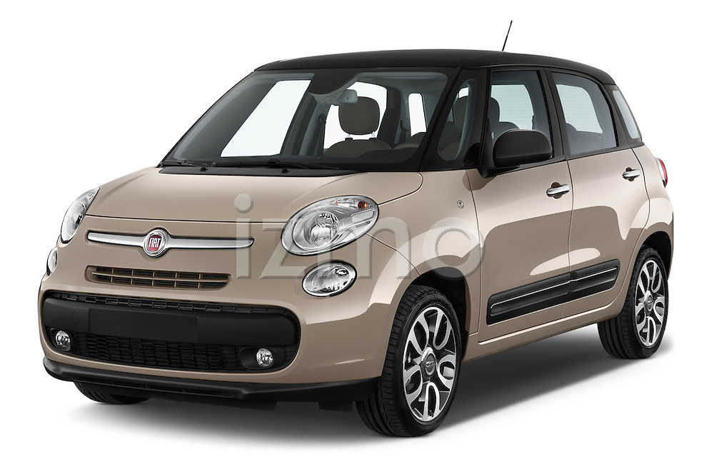 2014 Fiat 500L Lounge 5 Door MPV angular front stock photos of front three quarter view