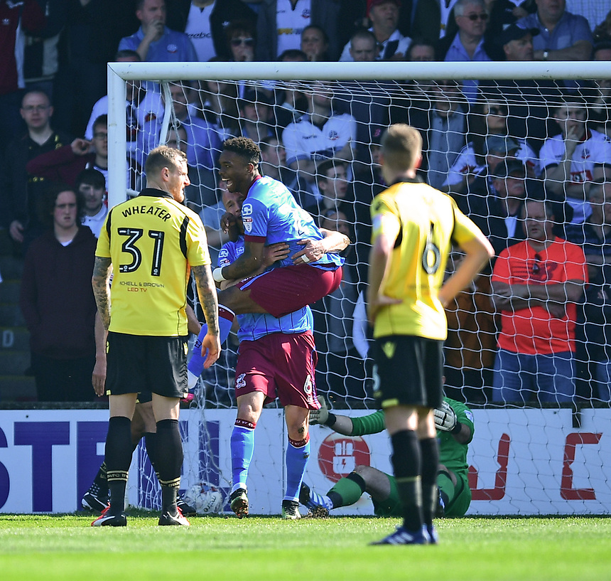 Scunthorpe United's David Mirfin celebrates scoring the opening goal with team-mate Ivan Toney <br /> <br /> Photographer Chris Vaughan/CameraSport<br /> <br /> The EFL Sky Bet League One - Scunthorpe United v Bolton Wanderers - Saturday 8th April 2017 - Glanford Park - Scunthorpe<br /> <br /> World Copyright &copy; 2017 CameraSport. All rights reserved. 43 Linden Ave. Countesthorpe. Leicester. England. LE8 5PG - Tel: +44 (0) 116 277 4147 - admin@camerasport.com - www.camerasport.com