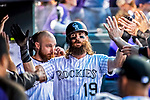 16 September 2017: Colorado Rockies center fielder Charlie Blackmon returns to the dugout after scoring against the San Diego Padres at Coors Field in Denver, Colorado. The Rockies shut out the Padres in a 16-0 route of the second game in their 3-game divisional series. Mandatory Credit: Ed Wolfstein Photo *** RAW (NEF) Image File Available ***