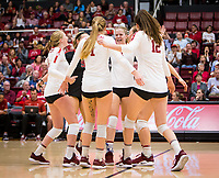 Stanford, CA - October 11, 2019: Meghan McClure, Jenna Gray, Morgan Hentz, Kate Formico, Audriana Fitzmorris at Maples Pavilion. The Stanford Cardinal swept the Arizona Wildcats 3-0.