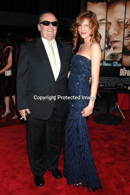 """Jack Nicholson and Paz de la Huerta..arriving at The New York Premiere of """" The Departed"""" ..directed by Martin Scorsese and starring Leonardo DiCaprio, Jack Nicholson, Matt Damon and Mark Wahlberg..on September 26, 2006 at The Ziegfeld Theatre...Robin Platzer, Twin Images"""