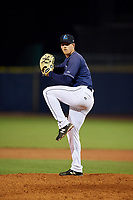 Lake County Captains relief pitcher Jonathan Teaney (16) delivers a pitch during the second game of a doubleheader against the South Bend Cubs on May 16, 2018 at Classic Park in Eastlake, Ohio.  Lake County defeated South Bend 5-2.  (Mike Janes/Four Seam Images)