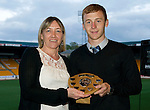 Barossa Street St Johnstone Supporters Club Young Player of the Year Award to Stevie May (absent so collected by Liam Caddis presented by Lyn McWilliam.Picture by Graeme Hart..Copyright Perthshire Picture Agency.Tel: 01738 623350  Mobile: 07990 594431