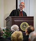 Jan. 27, 2014; His Eminence Jean-Louis Cardinal Tauran gives remarks after receiving an honorary Doctor of Laws Degree from the University of Notre Dame at the Notre Dame Rome Centre.<br />