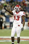 January 5th, 2008:  Rutgers Ron Girault (43) points to a teammate during the third quarter of the International Bowl at the Rogers Centre in Toronto, Ontario Canada...Rutgers defeated Ball State 52-30.  ..Photo By:  Mike Janes Photography