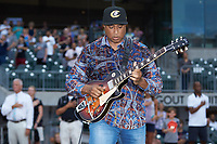 Former New York Yankee great Bernie Williams plays the National Anthem on guitar prior to the International League game between the Scranton/Wilkes-Barre RailRiders and the Charlotte Knights at BB&T BallPark on August 13, 2019 in Charlotte, North Carolina. The Knights defeated the RailRiders 15-1. (Brian Westerholt/Four Seam Images)
