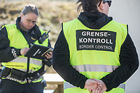 Border control. Norwegian authorites introduced strict measures to combat the Coronavirus (COVID-19) in March 2020. This included closing the borders, and any Norwegians returning from abroad is given two weeks quarantine. <br /> <br /> Police and soldiers from the Home Guard of the Army (Heimevernet) man checkpoints along side roads and regular border crossings to enforce the travel restrictions.<br /> <br /> <br /> <br /> ©Fredrik Naumann/Felix Features