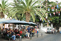 Spain, Canary Islands, La Palma, Santa Cruz de La Palma: capital - old town, cafe, tree with christmas gifts