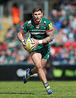Adam Thompstone of Leicester Tigers in possession. Aviva Premiership match, between Leicester Tigers and London Welsh on April 25, 2015 at Welford Road in Leicester, England. Photo by: Patrick Khachfe / JMP