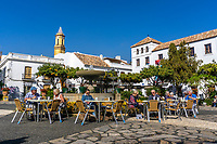 Tourists, open air, cafe, coffee, Plaza de Rosales, Estepona, Malaga, Spain, February, 2019, 20102018376<br />