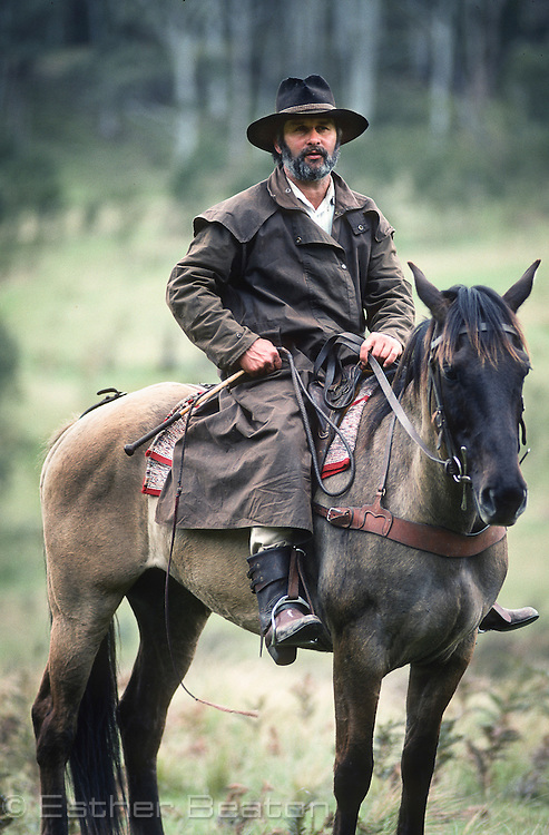 A stockman on his horse. Snowy Mountains, Victoria