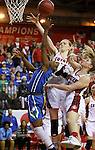 VERMILLION, SD, APRIL 2:  Kaneisha Atwater #2 from Florida Gulf Coast has her shot blocked by Abigail Fogg #44 from the University of South Dakota during the WNIT Championship game Saturday afternoon at the Dakota Dome in Vermillion, S.D. (Photo by Dave Eggen/Inertia)