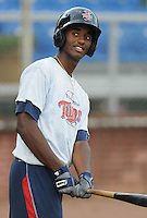 Infielder Niko Goodrum (15) of the Elizabethton Twins, Appalachian League affiliate of the Minnesota Twins, prior to a game against the Bristol White Sox on August 18, 2011, at Joe O'Brien Field in Elizabethton, Tennessee. Elizabethton defeated Bristol, 13-3. (Tom Priddy/Four Seam Images)