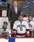 John Marino (Harvard - 12), Paul Pearl (Harvard - Associate Head Coach), Clay Anderson (Harvard - 5), Adam Fox (Harvard - 18) - The Harvard University Crimson defeated the US National Team Development Program's Under-18 team 5-2 on Saturday, October 8, 2016, at the Bright-Landry Hockey Center in Boston, Massachusetts.