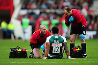 Manu Tuilagi of Leicester Tigers is treated for an injury. European Rugby Champions Cup semi final, between Leicester Tigers and Racing 92 on April 24, 2016 at The City Ground in Nottingham, England. Photo by: Patrick Khachfe / JMP