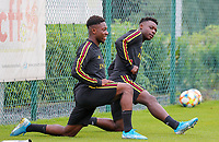 20190903 – TUBIZE , BELGIUM : Belgian Francis Amuza and Jeremy Doku are pictured during a training session of the U21 youth team of the Belgian national soccer team Red Devils , a training session as a preparation for their first game against Wales in the qualification for the European Championship round in group 9 on the road for Hungary and Slovenia in 2021, Tuesday 3rd of September 2019 at the National training grounds in Tubize , Belgium. PHOTO SPORTPIX.BE | Sevil Oktem