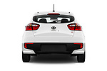 Straight rear view of 2016 KIA Rio LX 5 Door Hatchback Rear View  stock images