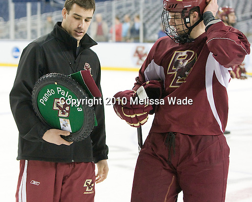 Mike Feeley (BC - Student Manager), Brooks Dyroff (BC - 14) - The Boston College Eagles practiced on Wednesday, April 7, 2010, at Ford Field in Detroit, Michigan to prepare for their 2010 Frozen Four Semi-Final.
