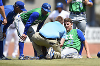 Lexington Legends starting pitcher Matt Tenuta (32) after being hit by a line drive during a game against the Asheville Tourists on May 3, 2015 in Asheville, North Carolina. The Legends defeated the Tourists 6-3. (Tony Farlow/Four Seam Images)