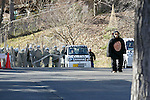 A zookeeper wearing a chimpanzee costume tries to escape while zookeepers hold up a net in an attempt to capture it during an Escaped Animal Drill at Tama Zoological Park on February 7, 2017, Tokyo, Japan. The annual escape drill is held in Tokyo zoos for zookeepers to practice how they would need to react in the event of a natural disaster or another emergency. This year a member of staff wearing a chimpanzee costume was captured and subdued by other zookeepers before it could escape out onto the streets of Tokyo. During the drill, participants used large nets, sticks and tranquilizer guns to make sure the monkey didn't get away. (Photo by Rodrigo Reyes Marin/AFLO)