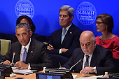 """(L-R, front row) United States President Barack Obama (center), His Excellency Haider Al-Abadi, Prime Minister of the Republic of Iraq (2nd row) Susan Rice, United States Ambassador to the United Nations (behind President Obama), Secretary of State John Kerry and Samantha Power (pink), United States Ambassador to the United Nations, attend the """"Leader's Summit on Countering ISIL and Countering Violent Extremism"""" at the United Nations Headquarters, New York, New York on September 29, 2015. <br /> Credit: Anthony Behar / Pool via CNP"""