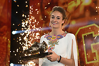 20190116 – PUURS ,  BELGIUM : Tessa Wullaert pictured during the  65nd men edition of the Golden Shoe award ceremony and 3th Women's edition, Wednesday 16 January 2019, in Puurs Studio 100 Pop Up Studio. The Golden Shoe (Gouden Schoen / Soulier d'Or) is an award for the best soccer player of the Belgian Jupiler Pro League championship during the year 2018. The female edition is the thirth one in Belgium.  PHOTO DIRK VUYLSTEKE | Sportpix.be