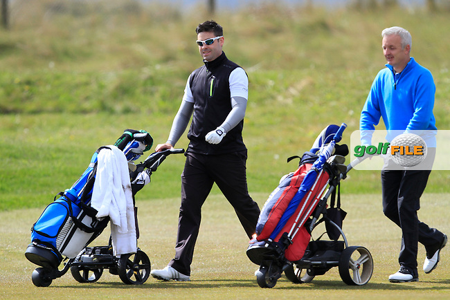 Sean Ryan (The Royal Dublin), Michael Sinclair (Knock) on the 2nd fairway during Round 1 of the Irish Amateur Open Championship at Royal Dublin on Thursday 7th May 2015.<br /> Picture:  Thos Caffrey / www.golffile.ie
