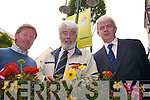 FLOWER POWER: Launching the display of window boxes and hanging baskets by Tralee businesses on Monday were, l-r: James Clifford of the Tralee Chamber of Commerce, Cllr Johnny Wall, chairman of Towards a Better Tralee and Mark O'Sullivan, chairman of Holiday Tralee.   Copyright Kerry's Eye 2008