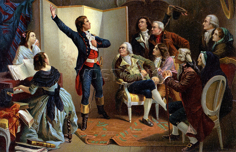 Histoire. France. Revolution francaise. Rouget de lisle chante la Marseillaise, le 25/04/1792. Illustration d'apres Isidore Pils (1849), France, vers 1900. Coll. Part.<br />