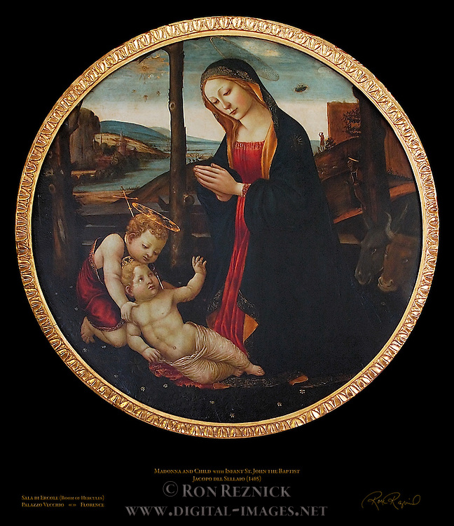 Madonna and Child with Infant John the Baptist and UFO del Sellaio Sala di Ercole (Room of Hercules) Apartment of the Elements Palazzo Vecchio Florence