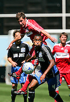 San Jose's James Riley controls the ball in front of Chicago's Stephen King. San Jose Earthquakes 0, Chicago Fire 1. McAfee Coliseum, Oakland, California. Saturday, April 12, 2008.