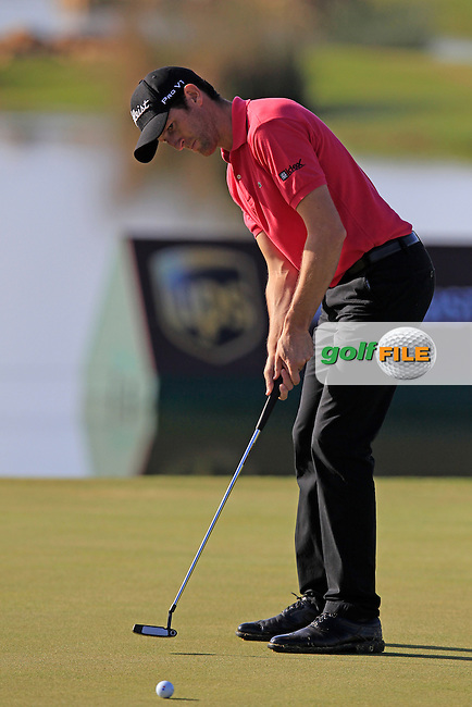 Gregory Bourdy (FRA) putts on the 17th green during Thursday's Round 1 of the Portugal Masters at the Oceanico Victoria Golf Course, Vilamoura, Portugal 10th October 2012 (Photo Eoin Clarke/www.golffile.ie)