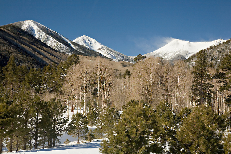 Snowcapped Humphries, Agassiz and Fremont peaks rise above Lockett Meadow in winter