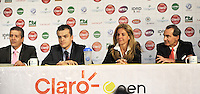 BOGOTA COLOMBIA-11-03-2014: Jahn Fontalvo de Gran Slam Producciones; David Londoño de Claro; Arantxa Sanchez, tenista Española ex numero uno del mundo y Jose Maria del Castillo, Vicepresidente Comercial de Colsanitas durante la presentación de la Copa Claro Open Colsanitas de tenis, que se realizara en las canchas del Club Campestre El Rancho en la ciudad de Bogota del 5 al 13 de abril de 2014. / Jahn Fontalvo, Grand Slam Productions, David Londoño of Claro; Arantxa Sanchez, Spanish former tennis world number one and Jose Maria del Castillo, Commercial Vice President of Colsanitas, during the presentation of the Copa Open Claro Colsanitas of Tennis Championships, to be held in the courts of the Club Campestre El Rancho in Bogota city, from 5 to April 13, 2014. (Photo: VizzorImage / Luis Ramirez / Staff.)