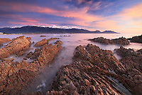 Sunrise looking towards the Kaikoura Mountains and Kaikoura Bay, South Island