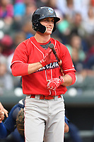 Right fielder Cord Sandberg (32) of the Lakewood BlueClaws bats in a game against the Columbia Fireflies on Saturday, May 6, 2017, at Spirit Communications Park in Columbia, South Carolina. Lakewood won, 1-0. (Tom Priddy/Four Seam Images)