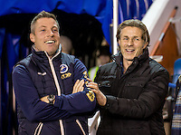 Millwall Manager Neil Harris and Wycombe Wanderers Manager Gareth Ainsworth during the Checkatrade Trophy round two Southern Section match between Millwall and Wycombe Wanderers at The Den, London, England on the 7th December 2016. Photo by Liam McAvoy.