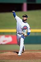 Mesa Solar Sox starting pitcher Erick Leal (40), of the Chicago Cubs organization, delivers a pitch during an Arizona Fall League game against the Peoria Javelinas at Sloan Park on November 6, 2018 in Mesa, Arizona. Mesa defeated Peoria 7-5 . (Zachary Lucy/Four Seam Images)