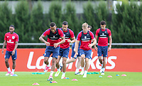 Ryan Bertrand (Southampton) of England and teammates during an open England football team training session at Stade Omnisport, Croissy sur Seine, France  on 12 June 2017 ahead of England's friendly International game against France on 13 June 2017. Photo by David Horn/PRiME Media Images.
