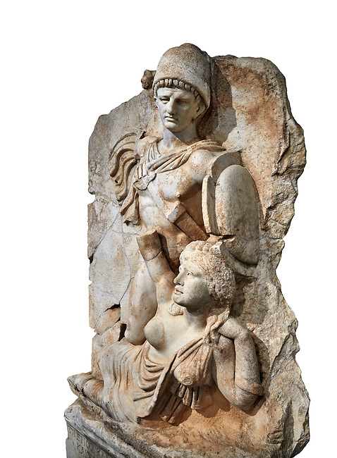 Roman Sebasteion relief  sculpture of emperor Claudius and Britannia, Aphrodisias Museum, Aphrodisias, Turkey.   Against a white background.<br /> <br /> Naked warrior emperor Claudius is about to deliver a death blow to the slumped Britannia. He wears a helmet, cloak and sword belt with a scabbard. Britannia wears a tunic with one breast exposed like the Amazon figures she was modelled on. The inscription reads: Tiberios Klaudios Kaiser - Bretannia.