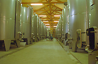 The Disznoko winery in Tokaj:: the vat room with big stainless steel tanks for fermenting both sweet and dry wine. The Disznók? winery is owned by AXA Millesimes, a French insurance company. Disznoko means pig's head since a big rock in the vineyard supposedly looks like that. The new winery is impressive and a vast amount of money has been invested. Credit Per Karlsson BKWine.com
