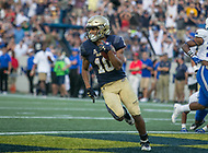 Annapolis, MD - October 7, 2017: Navy Midshipmen running back Malcolm Perry (10) scores a touchdown during the game between Air Force and Navy at  Navy-Marine Corps Memorial Stadium in Annapolis, MD.   (Photo by Elliott Brown/Media Images International)