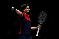 17th November 2019; 02 Arena. London, England; Nitto ATP Tennis Finals; Pierre-Hugues Herbert (FRA) celebrates as he wins the ATP doubles tournament with Nicolas Mahut (FRA) - Editorial Use