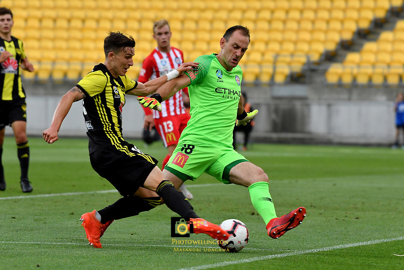 Wellington Phoenix&rsquo; Louis Fenton and Melbourne City&rsquo;s Eugene Galekovic in action during the A League - Wellington Phoenix v Melbourne City FC at Westpac Stadium, Wellington, New Zealand on Saturday 26 January 2019. <br /> Photo by Masanori Udagawa. <br /> www.photowellington.photoshelter.com